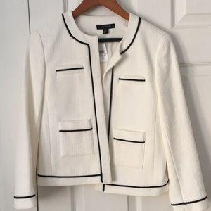 White Ann Taylor Jacket, Black Piping